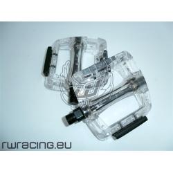 Coppia pedali bici / mtb / fixed in plastica trasparente