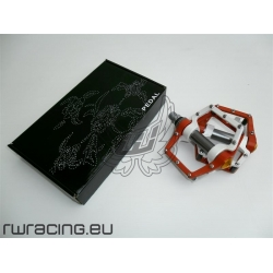 Pedali bici / fixed bicolore bianco e arancio / su cuscinetto