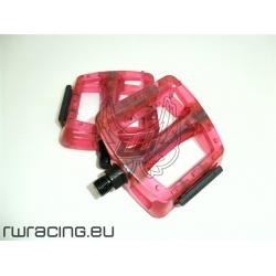 Coppia pedali bici / mtb / fixed in plastica trasparente Rossi