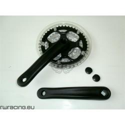 Guarnitura bici / mtb in alluminio nera